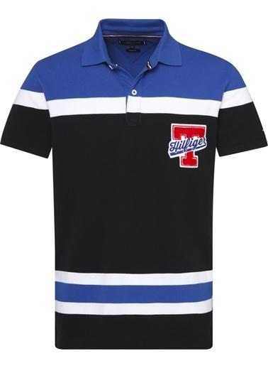 Tommy Hilfiger Erkek Eng Colorblock Hockey Tişört MW0MW08830 Siyah